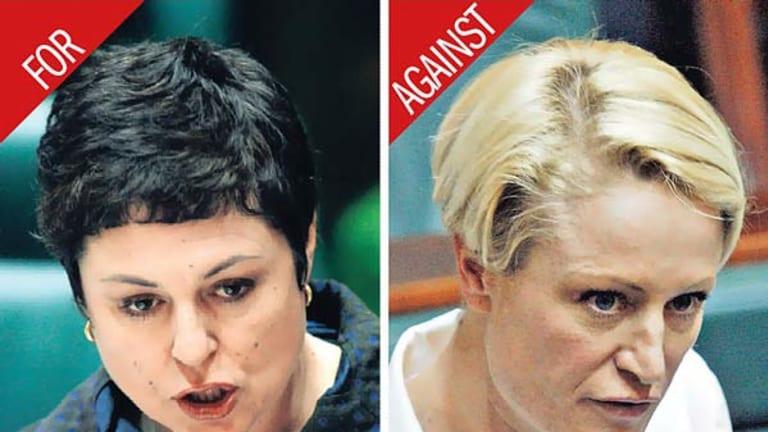 Parliament split on abortion debate: Victorian Public Transport Minister Lynne Kosky, left, and Labor MP Kristie Marshall.