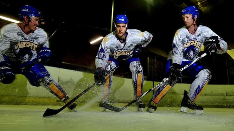 Canberra Knights players, Jordie Gavin, Maxime Suzzarini from France and Mark Rummukainen in April 2013.