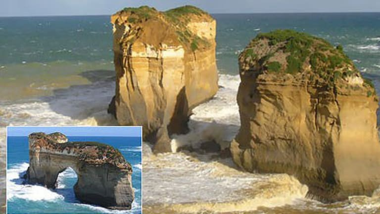 Island Archway (inset) is now two new features on Victoria's Great Ocean Road near Loch Ard Gorge after the middle section collapsed into the sea this week.