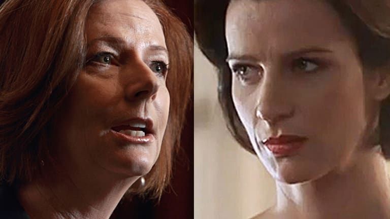 Julia Gillard (left) to be portrayed by Rachel Griffiths (right) in new television drama.