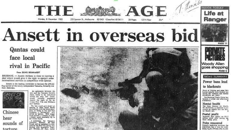 The front page of The Age on this day in 1980.