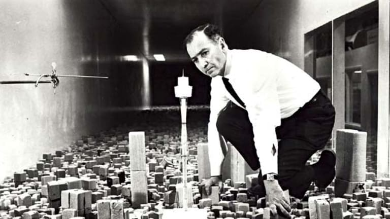 Alexander Wargon inspects the Sydney Tower plans circa. 1976.