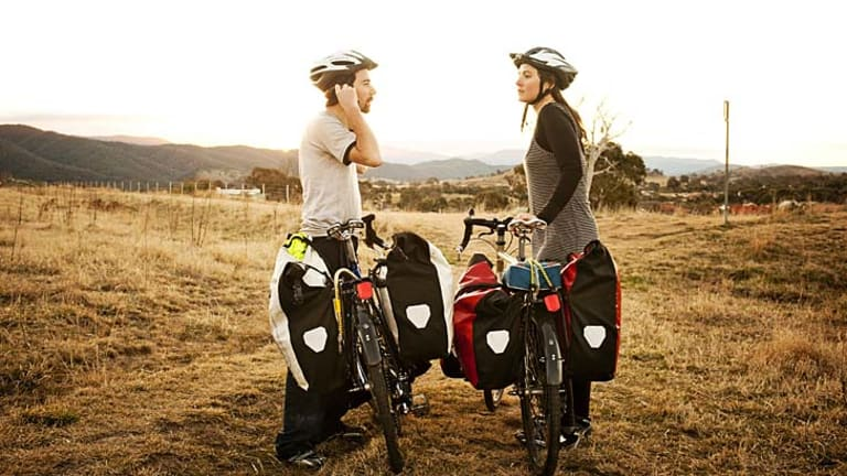 Changing gears: Greg Foyster and Sophie Chishkovsky rode around Australia  to explore alternative ways of living.