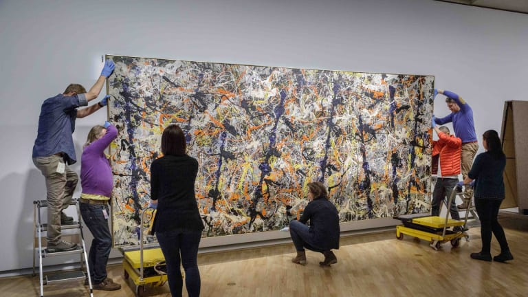 Jackson Pollock's <i>Blue Poles</i> has returned from London, its first overseas trip since 1998.