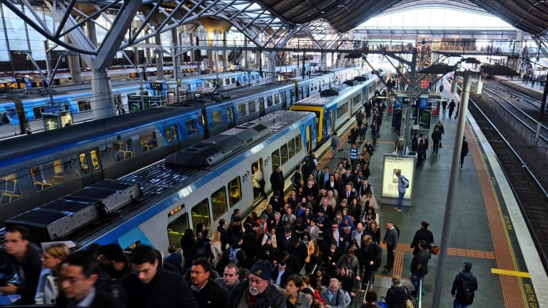 Clogged systems on the rails, too: train commuters facing congestion at Southern Cross Station earlier this month.