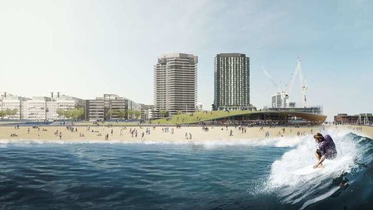 Images of a proposed Docklands surf park, floating at the end of Central Pier.