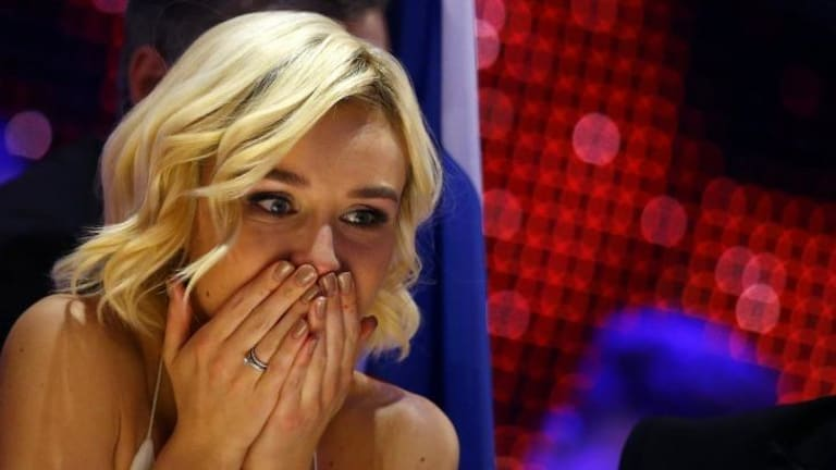 Bated breath: Russia's Polina Gagarina waits for the results during the final.