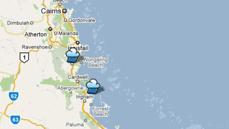 Cyclone Yasi is expected to cross the Queensland coast between Tully and Lucinda, marked on this map by rain cloud icons.
