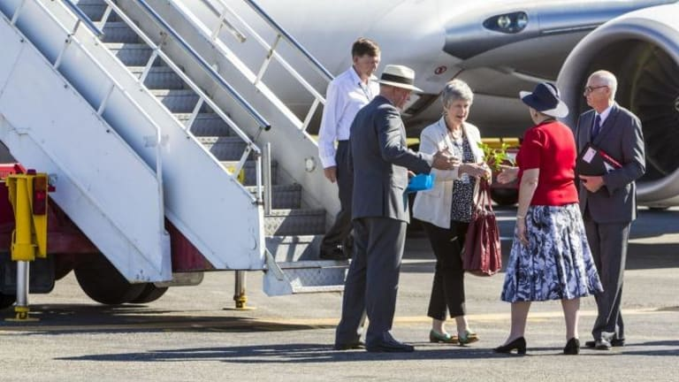 The imitation dignitaries are greeted on the tarmac as part of the G20 security practice run.
