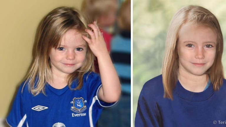 Composite photos showing three-year-old Madeine McCann, left, with a computer generated age progression image of the missing child as she might look now.