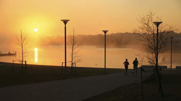 Fitness freaks can take advantage of the exercise sites around Lake Ginninderra.