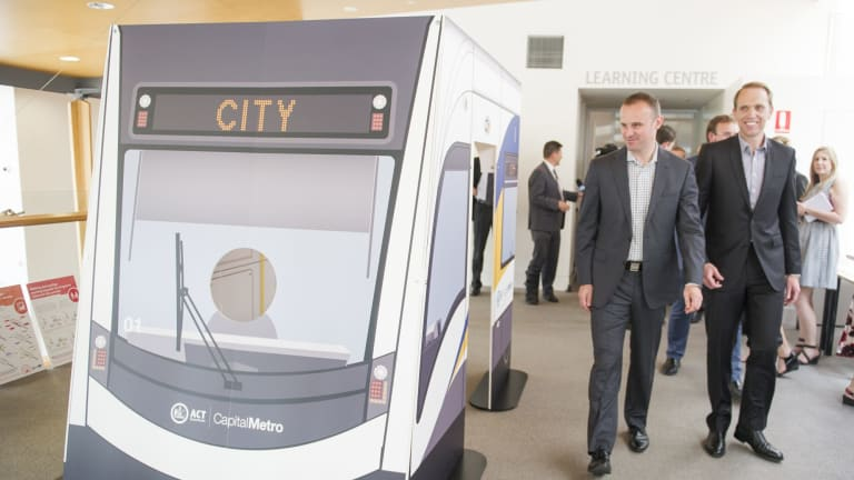 ACT Chief Minister Andrew Barr and Minister for Capital Metro Simon Corbell officially launch the consultation on the  light rail urban designs.