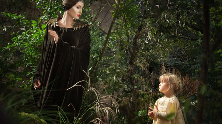 <i>Maleficent</i>: Angelina Jolie with her daughter Vivienne Jolie-Pitt, who was the only young Aurora not to cry at the sight of Jolie.