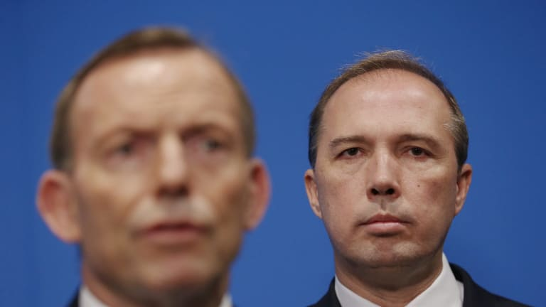Immigration minister Peter Dutton with former prime minister Tony Abbott.