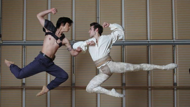 Jumping for joy ... Chengwu Guo, left, is the 2011 Telstra ballet dancer award recipient. Brett Chynoweth was a finalist.