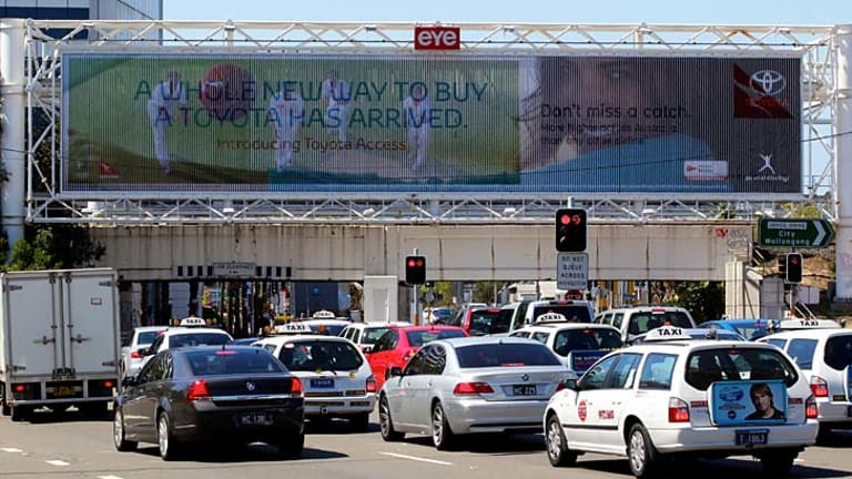 Lucrative … a billboard near Sydney Airport.