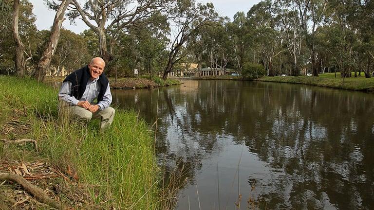 Ben Cocks at the Latrobe University pond where the virus has been found.
