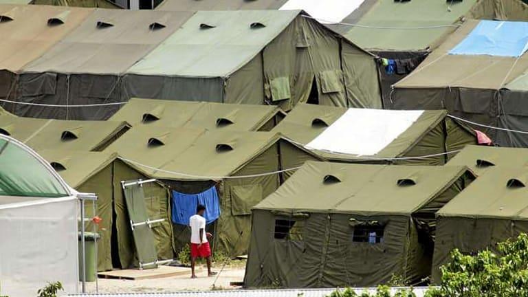 Tent homes on Nauru.