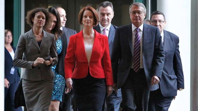 Julia Gillard with leading members of the Labor caucus after yesterday's decisive win over Kevin Rudd in the leadership ballot.