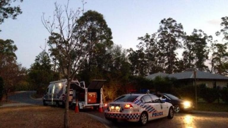 Police outside the Pullenvale home on August 13 after the discovery of the explosives.
