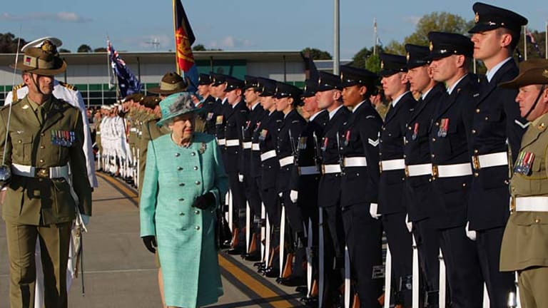 The Queen inspects the Federation Guard in Canberra.