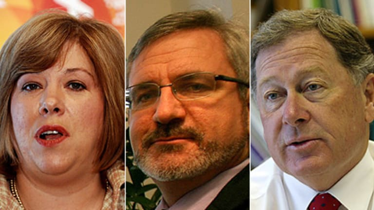 First past the post ... political veterans Teresa Gambaro, Andrew Bartlett and Arch Bevis will battle for the seat of Brisbane in the federal election.