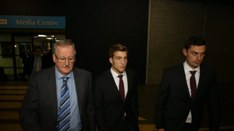 Jack Viney leaves the tribunal after Tuesday night's hearing
