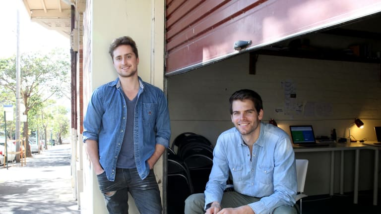 Entrepreneurs Hugh Minson and Richard Hordern-Gibbings from Nexus Notes outside the garage they work in.