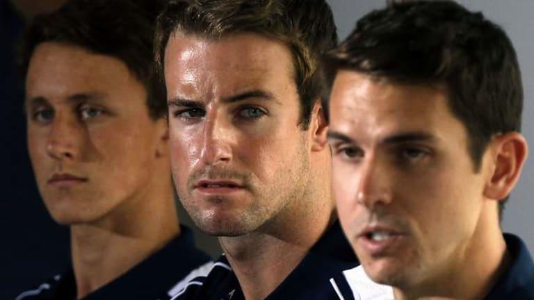 From left: Cameron McEvoy, James Magnussen and Eamon Sullivan.