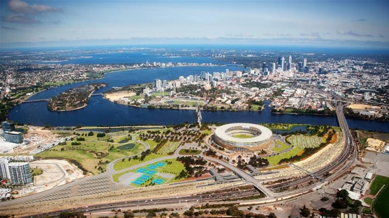 An overview of the parks and facilities surrounding Perth Stadium.