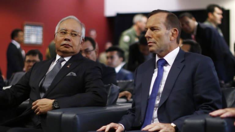 Malaysian Prime Minister Najib Razak with then Australian prime minister Tony Abbott at the start of the search.