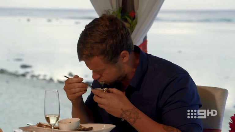 No aphrodisiac: Ryan spitting out oyster proves too much for Davina.