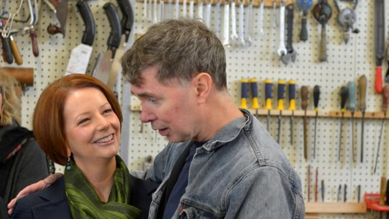 Prime Minister Julia Gillard chats with Stuart at the Glen Park Mens' Shed in Bayswater North yesterday.