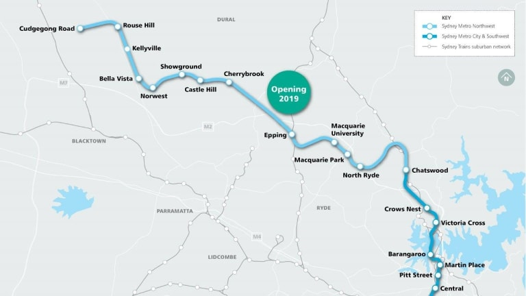 Sydney's two-stage metro train line is estimated to cost about $20 billion.