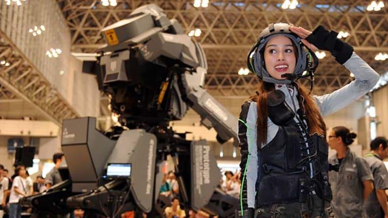 Pilot Anna salutes after demonstrating the Kuratas at the Wonder Festival.