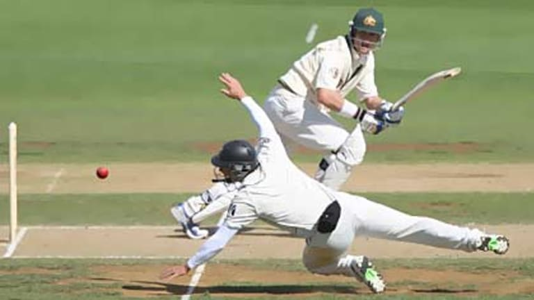 Ton of fun...Marcus North plays a shot square during his unbeaten 112 before Australia's declaration on the second day on the First test in Wellington.