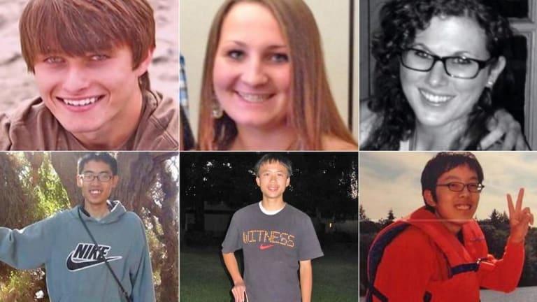 The six Isla Vista massacre victims, from top left: Christopher Michaels-Martinez, Veronika Weiss, Katie Cooper, Cheng-Yuan Hong, George Chen, Weihan Wang.