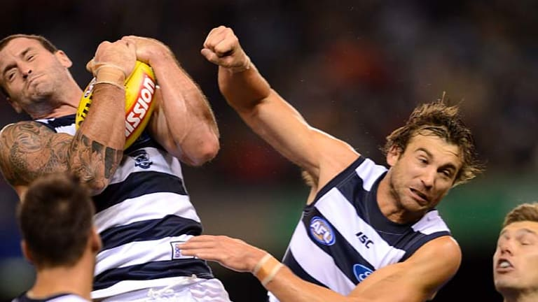 Standing firm: Josh Hunt, much maligned last week, marks strongly last night.