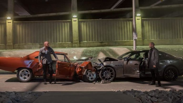 Vin Diesel as Dominic Toretto and Jason Statham, who plays Deckard Shaw, in <i>Furious 7</i>.