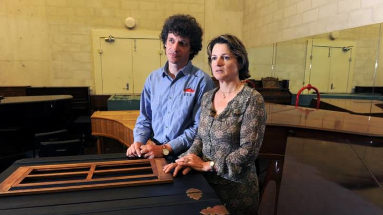 ANU School of Music's head of keyboard, Arnan Wiesel,  with Alice Giles, who teaches harp.