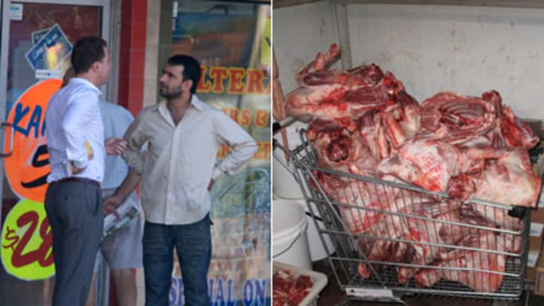 Unsanitary ... Toufic Elarab, fined for using a banned chemical, and (right) a scene at his business that alarmed Food Authority Inspectors.