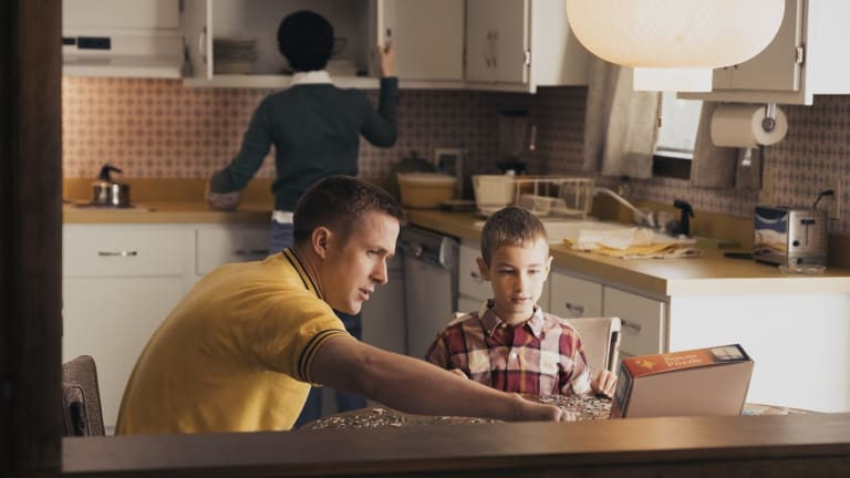 The Armstrong family at home (Ryan Gosling as Neil Armstrong) in <i>First Man</i>.
