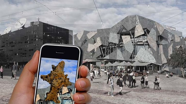 A new sculpture exhibition uses smartphones to change how you look at the city.