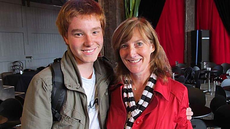 Harrison Thomas with his mum Gail.