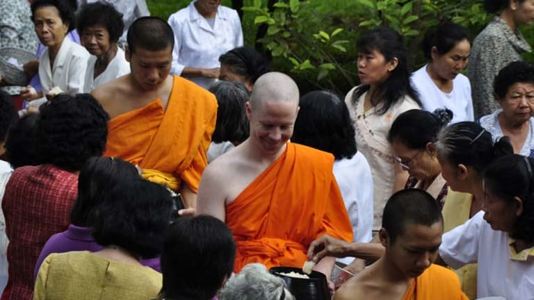 ''Monk for a month'' ... westerners are experiencing life as a Buddhist in a remote part of Thailand as part of a ''praycation'' package.