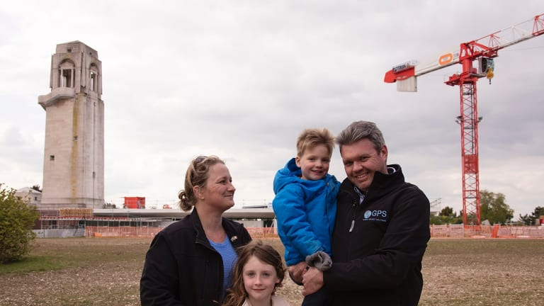 Canberra couple Caroline and Wade Bartlett with their children Alexa and Samuel on site this week at of the Sir John monash Centre  near Villers-Bretonneux in France. The couple are managing the project on behalf of the Department of Veteran Affairs. The existing Australian National Memorial rises above the new construction.