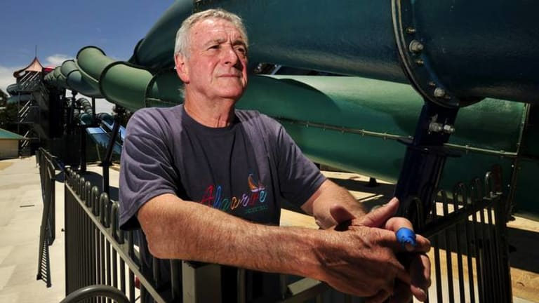 Owner of Big Splash Waterpark Ron Watkins is unhappy that ACT Government forced him shut down his new water slide at the park after it has been built in time for the summer season.