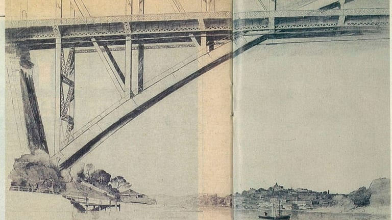 <i>Sydney Bridge</i>. Pencil on paper, 1932.