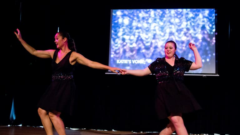 Liz Lea and Katie Senior in That extra 'some, Belconnen Arts Centre, 2017.