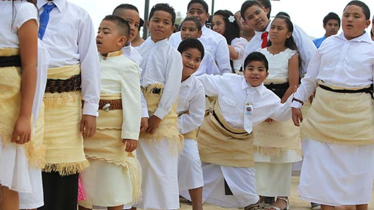 Worshipping as one ... Sydney Tongans embraced traditional celebrations in Glendenning. Two Tongan denominations came together for the event.
